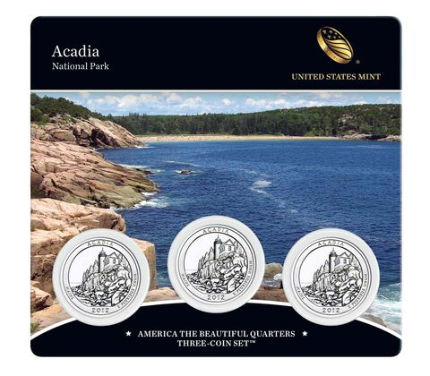 Acadia National Park 2012 Quarter, 3-Coin Set
