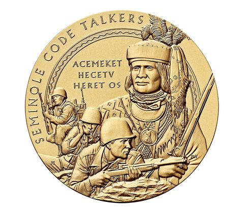 Seminole Nation Code Talkers Bronze Medal 3 Inch,  image 1