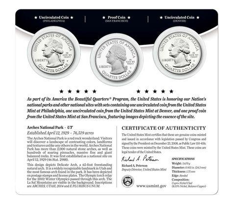 Arches National Park 2014 Quarter, 3-Coin Set,  image 2