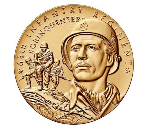 "65th Infantry Regiment ""Borinqueneers"" Bronze Medal 3 Inch"