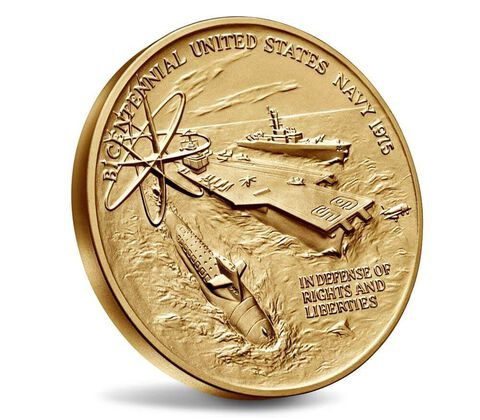 U.S. Navy Bicentennial Bronze Medal 3 Inch,  image 3