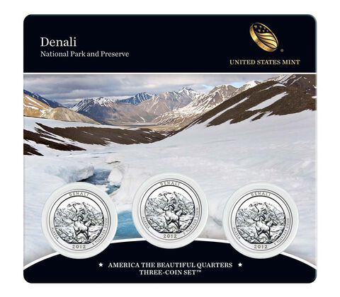Denali National Park and Preserve 2012 Quarter, 3-Coin Set,  image 1