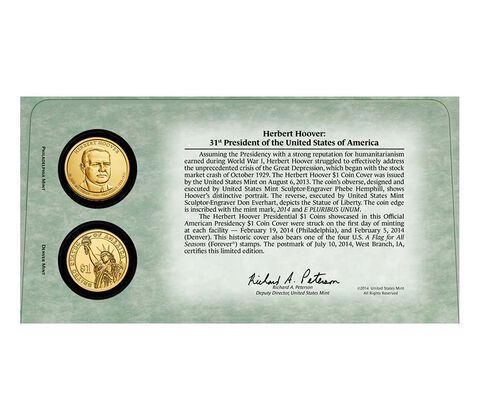 Herbert Hoover 2014 One Dollar Coin Cover,  image 2