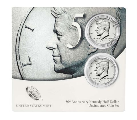 50th Anniversary Kennedy 2014 Half-Dollar Uncirculated Coin Set,  image 3