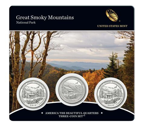 Great Smoky Mountains National Park 2014 Quarters, 3-Coin Set