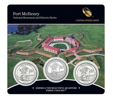 Fort McHenry National Monument and Historic Shrine 2013 Quarter, 3-Coin Set,  image 1