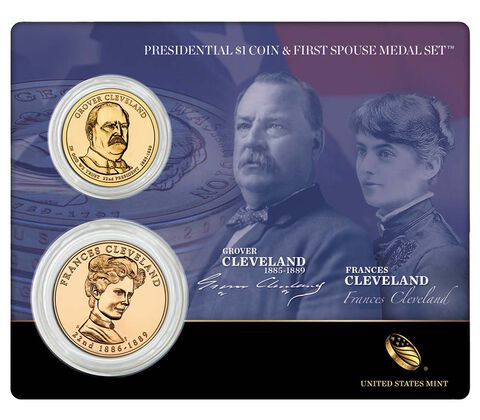 Grover Cleveland (First Term) 2012 Presidential One Dollar Coin & First Spouse Medal Set