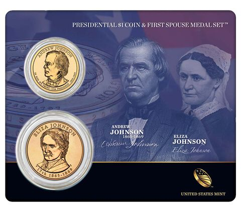 Andrew Johnson 2011 Presidential One Dollar Coin & First Spouse Medal Set