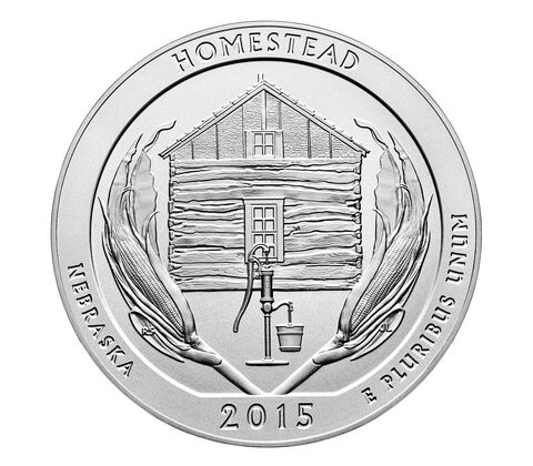Homestead National Monument of America 2015 Uncirculated Five Ounce Silver Coin