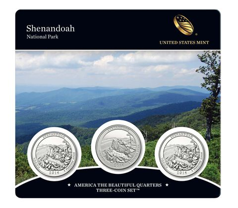 Shenandoah National Park 2014 Quarter, 3-Coin Set