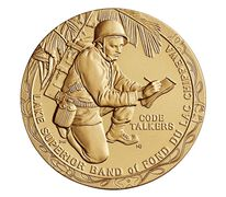 Fond du Lac Band of Lake Superior Chippewa Tribe Code Talkers Bronze Medal 3 Inch
