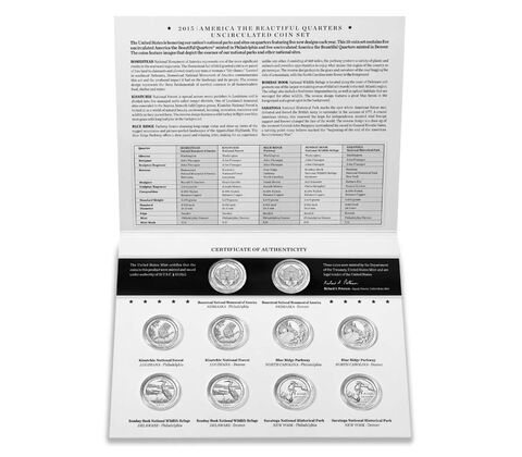 America the Beautiful Quarters 2015 Uncirculated Coin Set