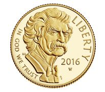 Mark Twain 2016 $5 Gold Proof Coin