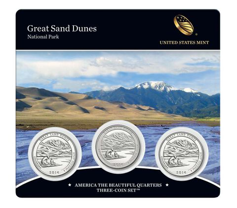 Great Sand Dunes National Park 2014 Quarter, 3-Coin Set