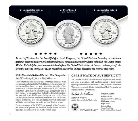 White Mountain National Forest 2013 Quarter, 3-Coin Set,  image 2