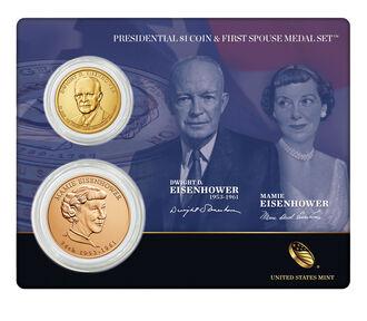 Dwight D. Eisenhower 2015 Presidential $1 Coin & First Spouse Medal Set