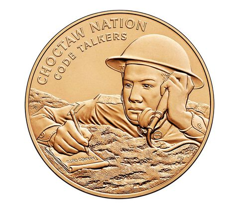 Choctaw Nation Tribe Code Talkers Bronze Medal 1.5 Inch,  image 1