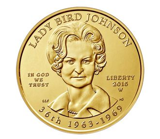"""""""Lady Bird"""" Johnson 2015 First Spouse Series One-Half Ounce Gold Uncirculated Coin"""