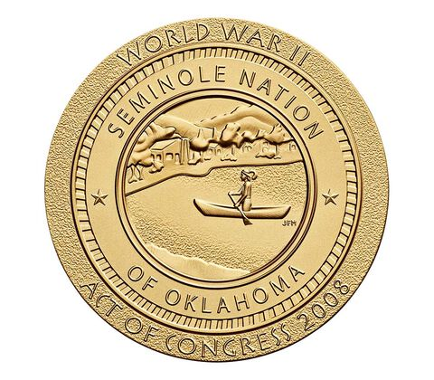 Seminole Nation Code Talkers Bronze Medal 1.5 Inch,  image 2