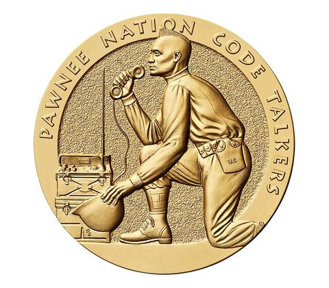 Pawnee Nation Tribe Code Talkers Bronze Medal 3 Inch,  image 1
