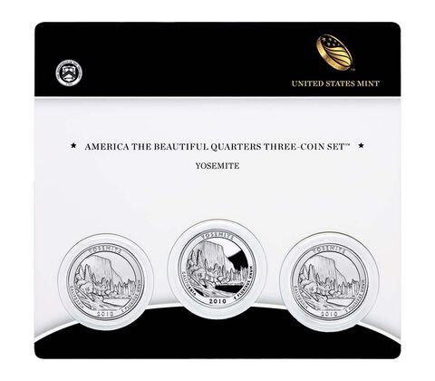 Yosemite National Park 2010 Quarter, 3-Coin Set