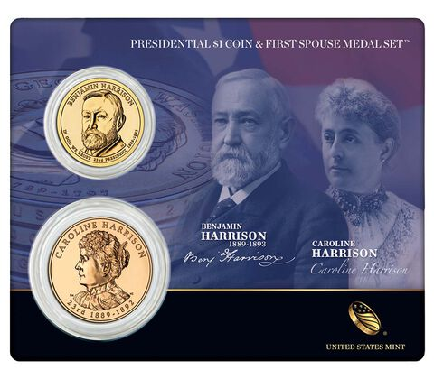 Benjamin Harrison 2012 Presidential $1 Coin & First Spouse Medal Set