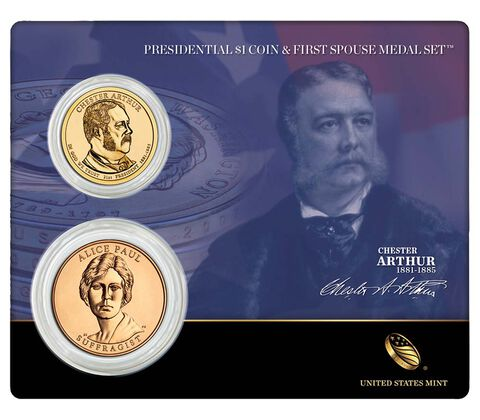 Chester Arthur 2012 Presidential $1 Coin & First Spouse Medal Set
