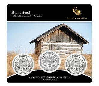 Homestead National Monument of America 2015 Quarter, 3-Coin Set