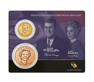 Ronald Reagan 2016 Presidential $1 Coin & First Spouse Medal Set