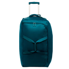 "Lipault 0% Pliable 30"" Wheeled Duffel in the color Duck Blue."