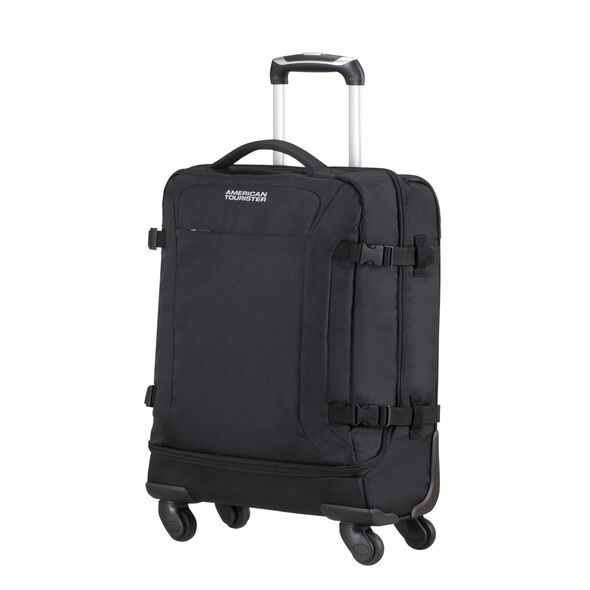 American Tourister Road Quest Spinner Duffle Carry-On in the color Solid Black.