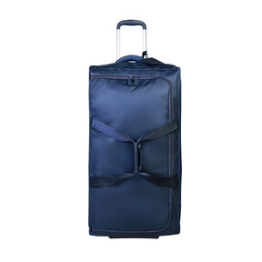 """Lipault 0% Pliable 30"""" Wheeled Duffel in the color Navy."""