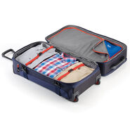 """High Sierra AT6 DLX 31"""" Wheeled Duffle Upright in the color True Navy/Red Line."""