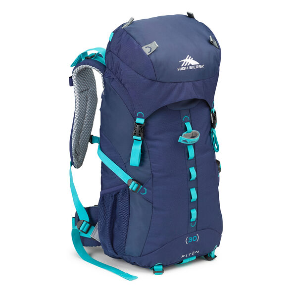 High Sierra Classic 2 Series Piton 30W Frame Pack in the color True Navy/Tropic Teal.