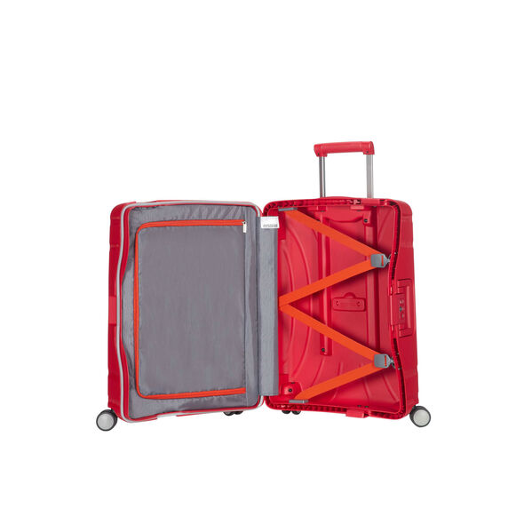 """American Tourister Lock-N-Roll 20"""" Spinner in the color Formula Red."""