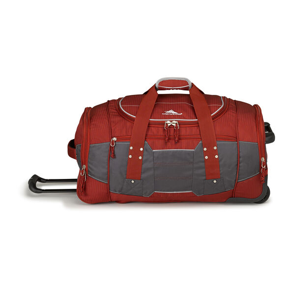 """High Sierra Ultimate Access 2.0 26"""" Wheeled Duffel in the color Brick Red/Mercury/Silver."""
