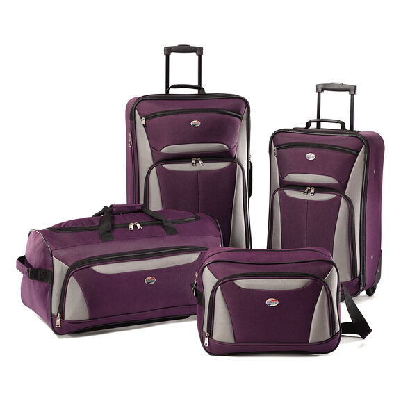 American Tourister Fieldbrook II 4 Piece Set in the color Purple/Grey.