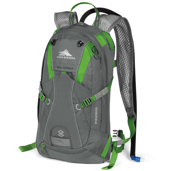 High Sierra Piranha 10L Hydration Pack in the color Charcoal/Kelly.