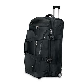 "High Sierra AT3 32"" Drop Bottom Wheeled Duffel in the color Black."