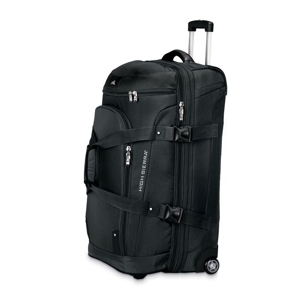 """High Sierra AT3 32"""" Drop Bottom Wheeled Duffel in the color Black."""