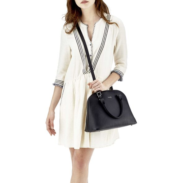 Lipault Plume Elegance Handle Bag M in the color Black Leather.
