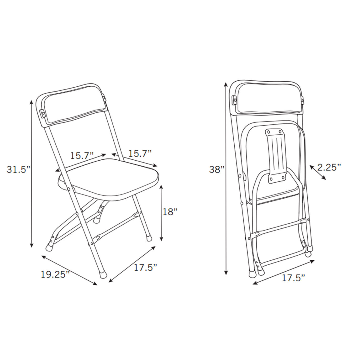 Chair dimensions - Samsonite 2200 Series Injection Mold Folding Chair 40 Case 10 41