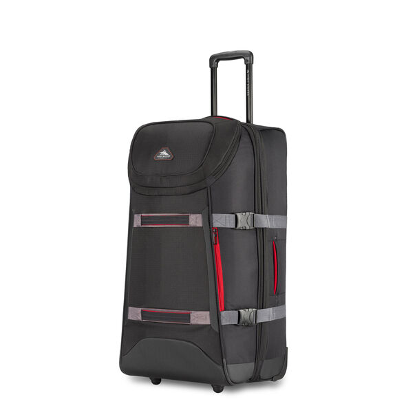 "High Sierra AT Lit 32"" Duffel Upright in the color Black/Crimson/Slate/Black."