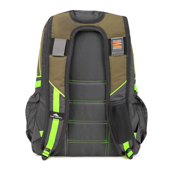 High Sierra Loop Backpack in the color Moss/Mercury/Zest.