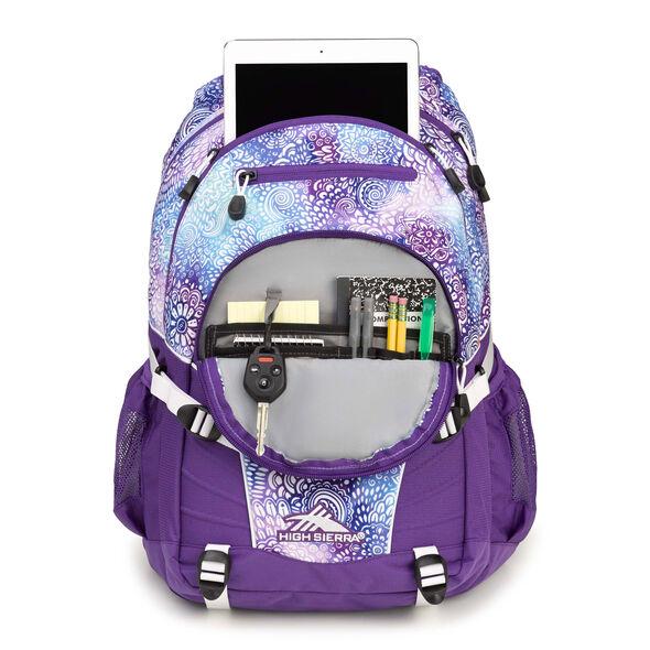 High Sierra Loop Backpack in the color Flower Daze/Deep Purple/White.