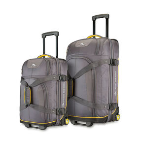High Sierra 2PC Wheeled Upright Duffel Set in the color Mercury/Black/Sunburst.
