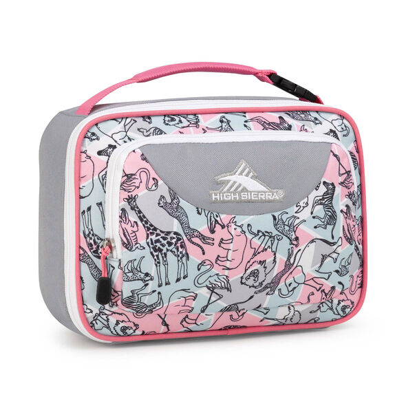 High Sierra Lunch Packs Single Compartment in the color Safari/Ash/Pink Lemonade.
