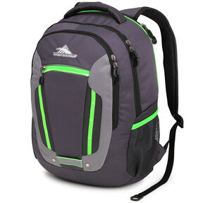High Sierra Modi Backpack in the color Mercury/Charcoal/Lime.