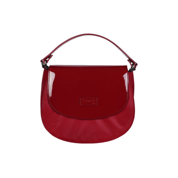 Lipault Plume Vinyle Saddle Bag Bi-Material in the color Ruby.