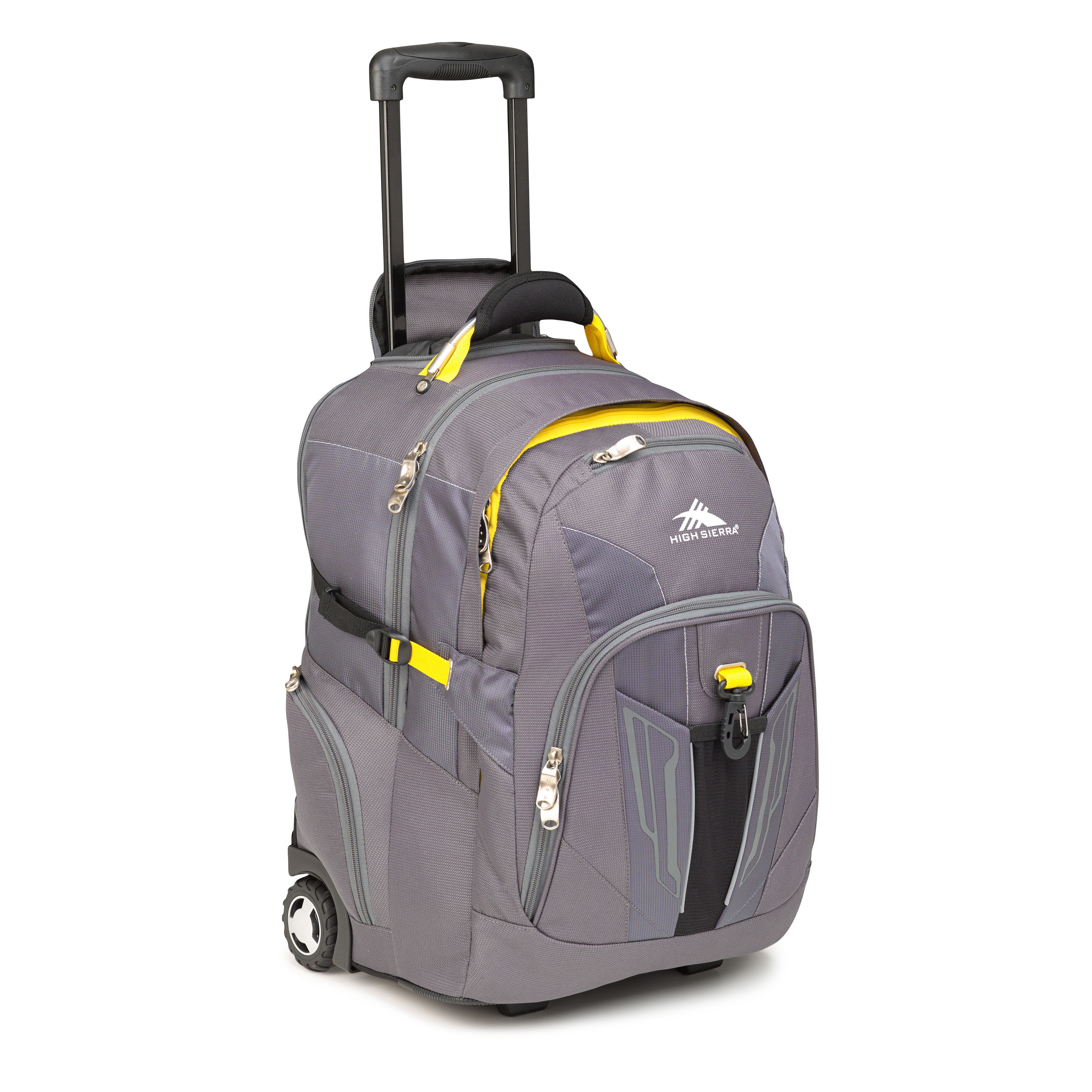 high sierra prime access wheeled backpack in the color charcoal mercury